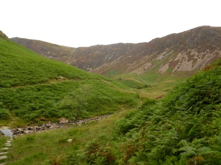 Far to the left there, you can see the slate bridge over Nant Cadair, and across the stream, the path towards Cader Idris.
