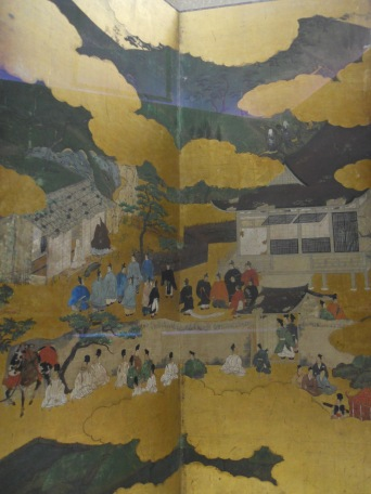 """Imperial Visit to Ohara"" by Hasegawa Kyuzo, color on gold-leafed paper, Azuchi-Momoyama period, 16th century"